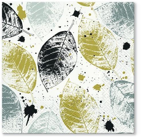 20 Servietten Leaves print gold 33x33cm