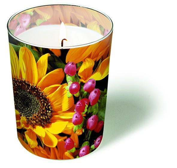 RP Glaskerze Autumn Greetings - Herbstblumen-Bouquet Ø 8,5 Höhe 10cm