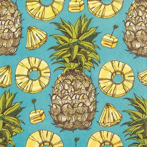 RP 20 Servietten Sweet Pineapples - Süße Ananas 33x33cm