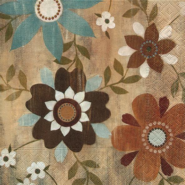 20 Servietten Flower Carpet - Blumenmotiv Vintage 33x33cm