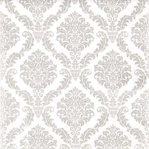 20 Servietten Elegant silver - Muster silber 33x33cm