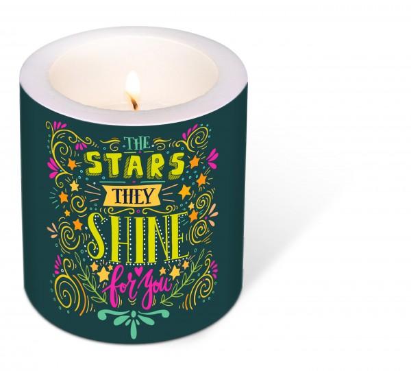 Kerze rund Starshine – Sterne strahlen für Dich Ø9cm, Höhe 10cm