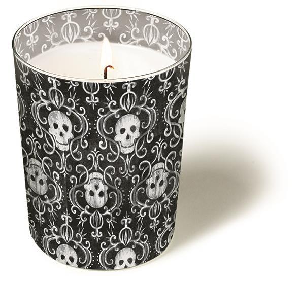 Glaskerze Skulls - Totenköpfe H10 x Ø8,5cm