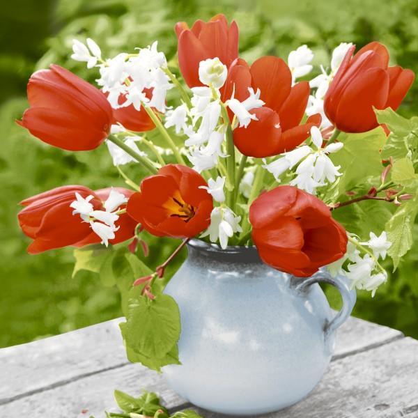 20 Cocktailservietten Red Tulips – Roter Tulpenstrauß in Vase 24x24cm