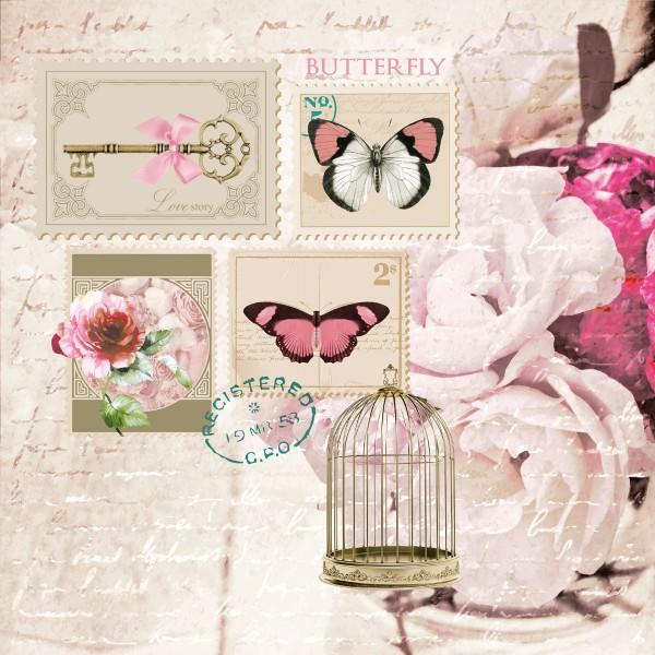 20 Servietten Butterfly Stamp