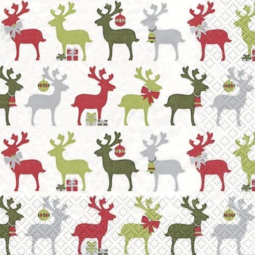20 Servietten Reindeer rot/grün - Elche rot/grün 33x33cm