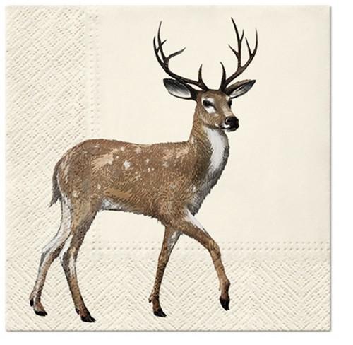20 Servietten Walking Deer - Spazierender Hirsch 33x33cm