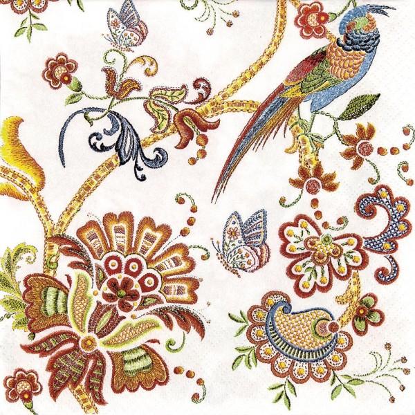 20 Servietten Embroidery Flowers - Natur als Stickerei 33x33cm