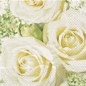 RP 20 Servietten White Roses - Drei weiße Rosen 33x33cm