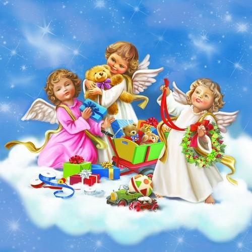 20 Servietten Angel with Toys – Engel mit Spielzeug 33x33cm