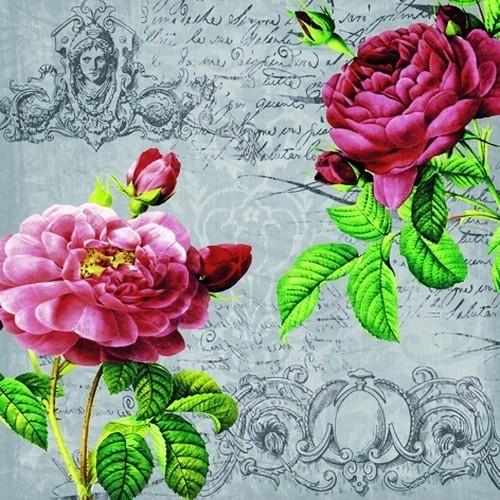 ti-flair 20 Servietten Deux Roses Classique black 33x33cm