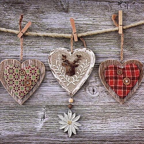 20 Servietten Rustic Hearts with Edelweiss 33x33cm