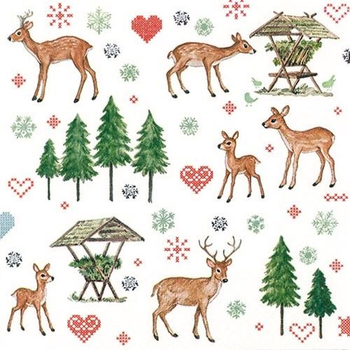 20 Servietten Charming Deers 33x33cm