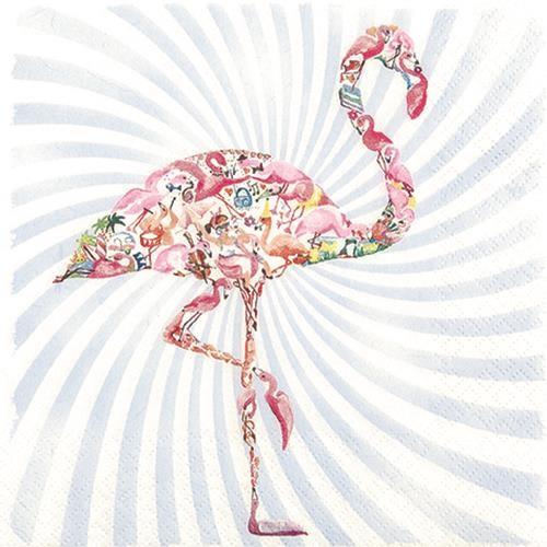 20 Servietten Flamingo - Bunter Flamingo 33x33cm