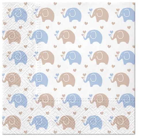 PAW Servietten Baby Elephants blue 33x33cm
