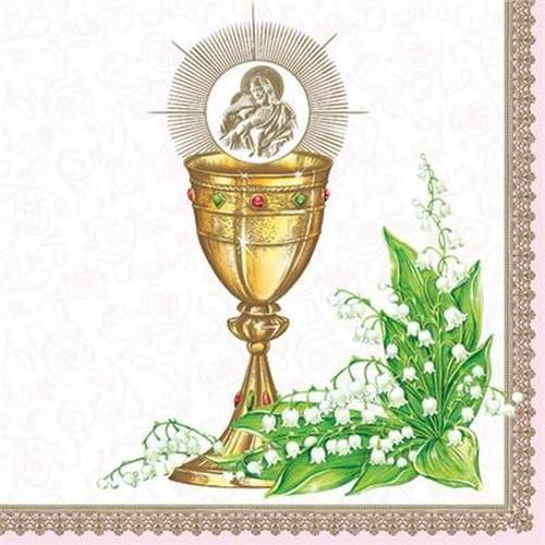 20 Servietten Chalice with Lilly of the Valley pink 33x33cm