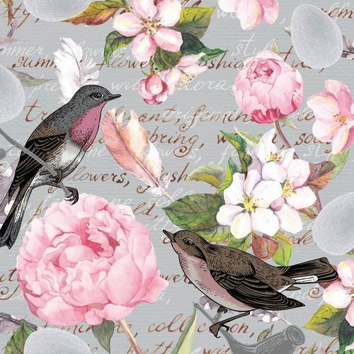 20 Servietten Birds of a Feather – Vintage Blumen und Vögel 33x33cm