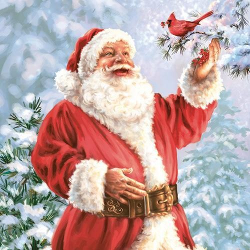 Maki Servietten Happy Santa Claus with Bird 33x33cm