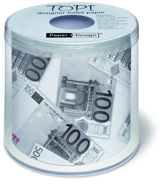 Toilettenpapier Rolle bedruckt Euro