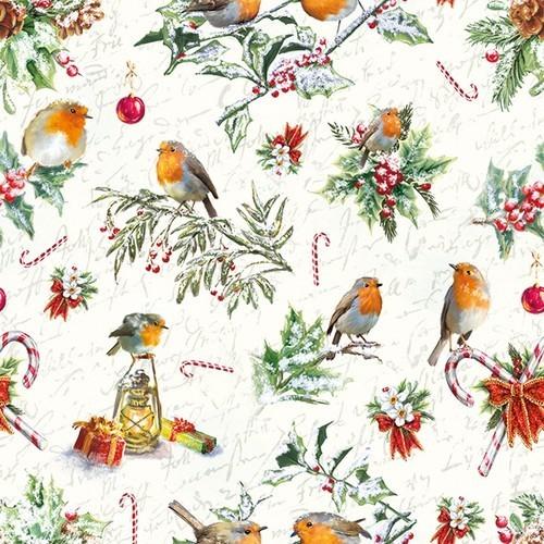 20 Servietten Christmas Ornaments – Viele Vögel in Weihnachtsstimmung 33x33cm