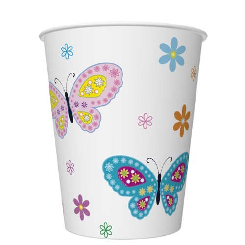 8 Pappbecher Graphic Colour Butterflies with Flowers 250ml