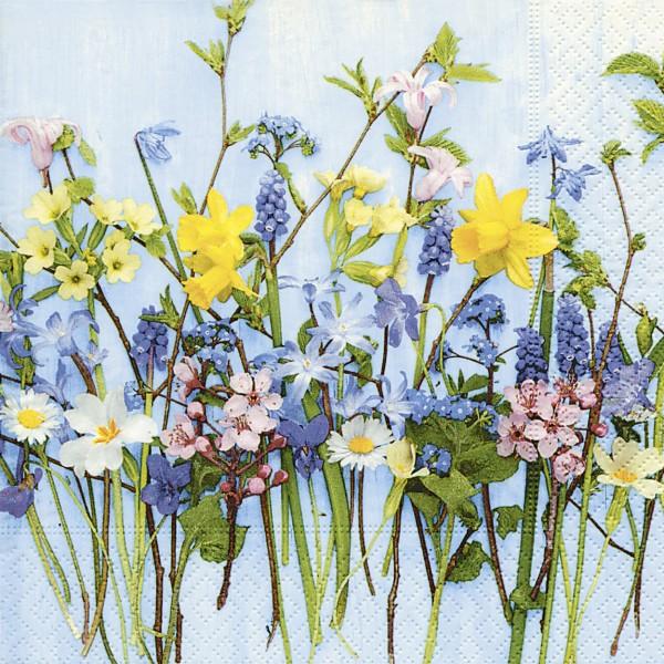 20 Cocktailservietten Spring Flowers – Gesammelte Frühlingsblüher 24x24cm