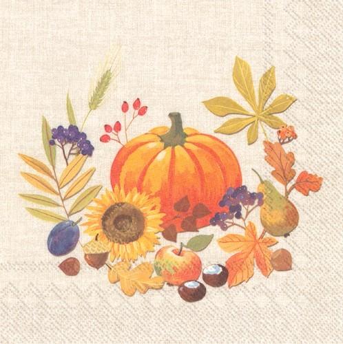 20 Servietten Little Pumpkin linen - Kürbis um Früchte des Herbstes 33x33cm