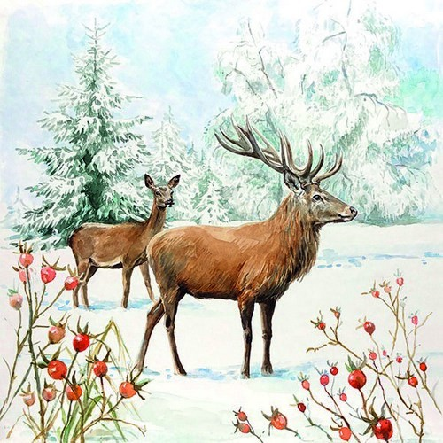 Ambiente Servietten Deer in Snow 33x33cm