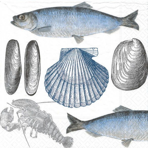 20 Servietten Sea Life - Fisch & Meer 33x33cm
