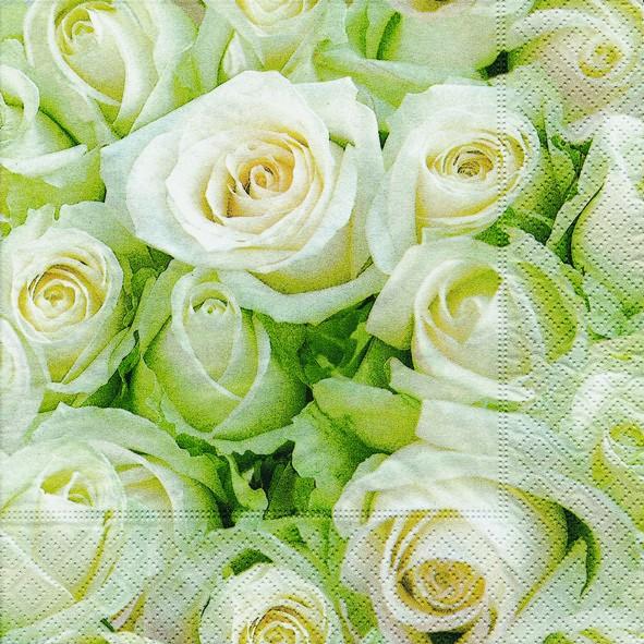 20 Servietten White Roses - Weiße Rosen 33x33cm