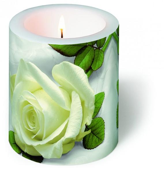 Kerze rund So beautiful - Wunderschöne weiße Rose Ø 9cm Höhe 10cm