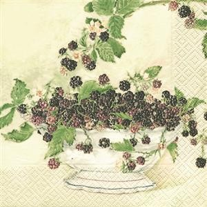 20 Servietten Black berries - Schwarze Beeren 33x33cm