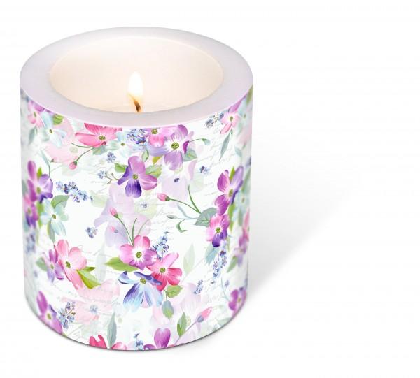 Kerze rund Sweet Pinks – Süßer Blumenglanz Ø9cm, Höhe 10cm