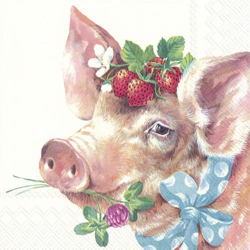 20 Servietten Piggy - Schwein mit Erdbeeren und Klee 33x33cm