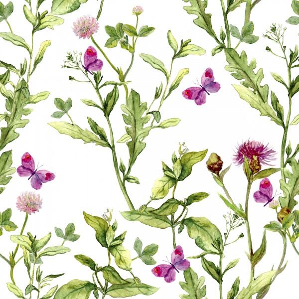 20 Cocktailservietten Pink Spring – Gräser im Frühling 24x24cm