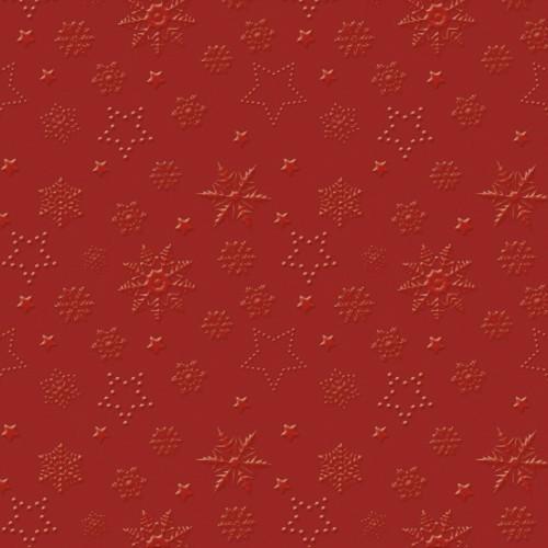 20 Servietten geprägt Winter Flakes red - Schneeflocken rot 33x33cm
