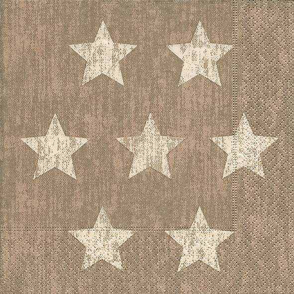 RP 20 Servietten Stella taupe - 7 Sterne taupe 33x33cm