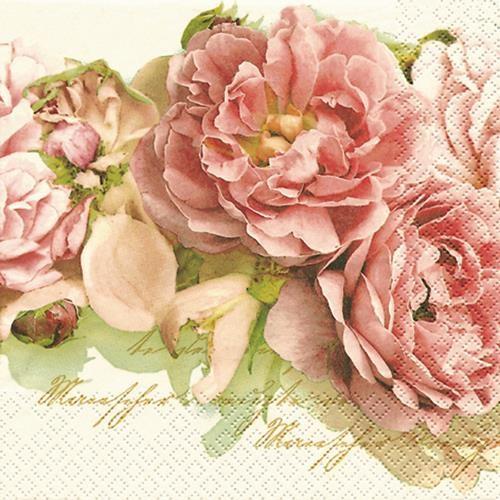 20 Servietten Mary Roses - Edle Rosen 33x33cm