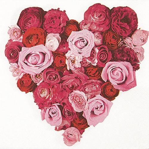 20 Servietten Heart of Roses - Herz aus Rosen 33x33cm