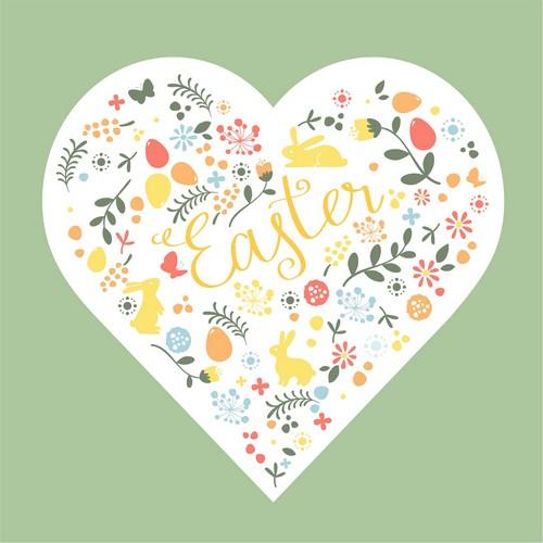 20 Servietten Easter Heart – Ein Herz für Ostern 33x33cm