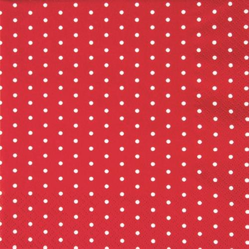 20 Servietten Mini Dots red/white - Mini-Punkte rot/weiß 33x33cm