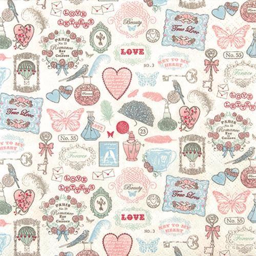 20 Servietten Love Icons - Liebessymbole 33x33cm