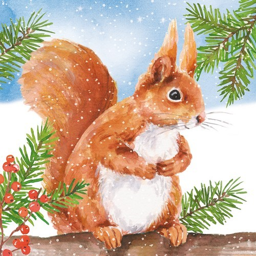 20 Servietten Hey Squirrel 33x33cm