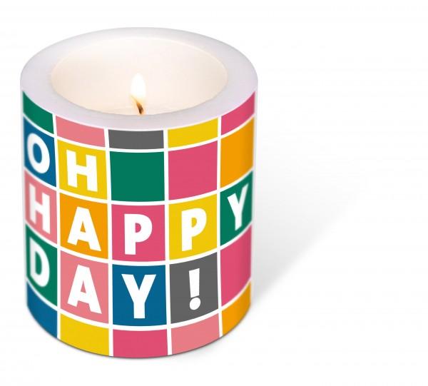 Kerze rund Happy Day – Ein toller Tag Ø9cm, Höhe 10cm