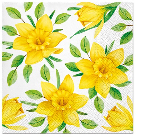 20 Servietten Daffodils in Bloom 33x33cm