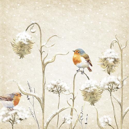 20 Servietten Robin in Thistles - Vogel auf Winterdisteln 33x33cm