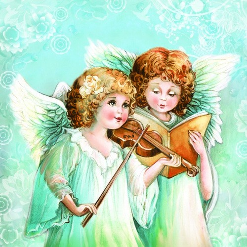 Daisy Servietten Two Angels Singing & Playing 33x33cm