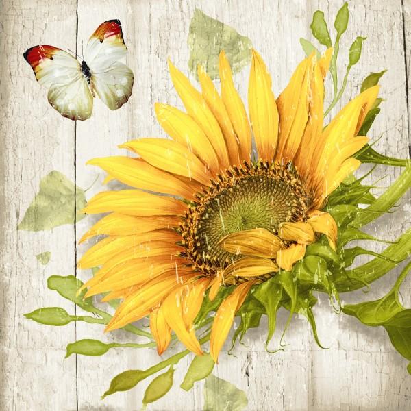 20 Cocktailservietten Vintage Sunflower – Vintage Sonnenblume 24x24cm
