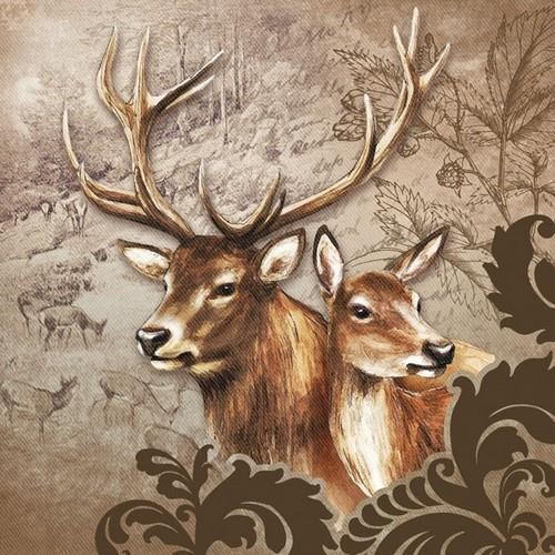 Ambiente Servietten Deer Couple brown 33x33cm