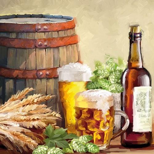 20 Servietten Beer and Hops - Bierbrauerei 33x33cm